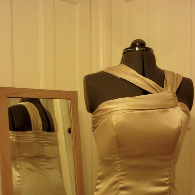 Gold Satin bridesmaids dress