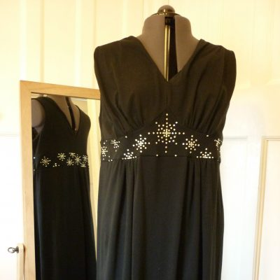 Jersey prom dress with hand applied Swarovski crystal detailing