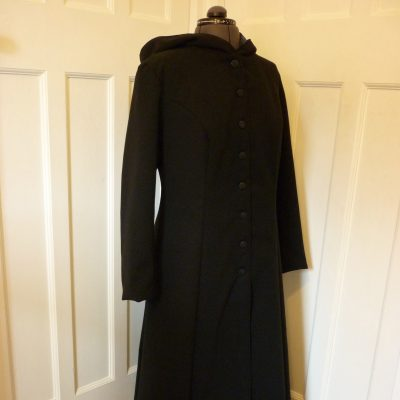 Full-length blank melton coat