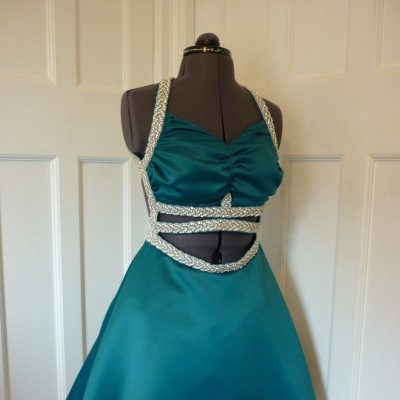 Satin prom dress with crystal trim