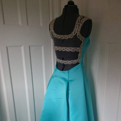 aqua satin prom dress with swarovski crystal straps and back detail