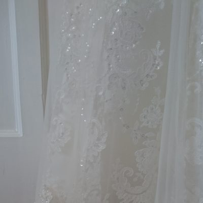 Lace edging on a beaded lace, tulle and satin wedding gown