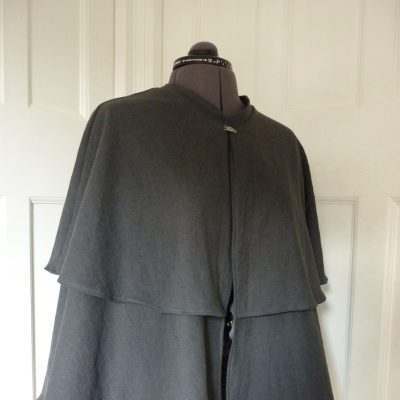two-layer charcoal linen cape