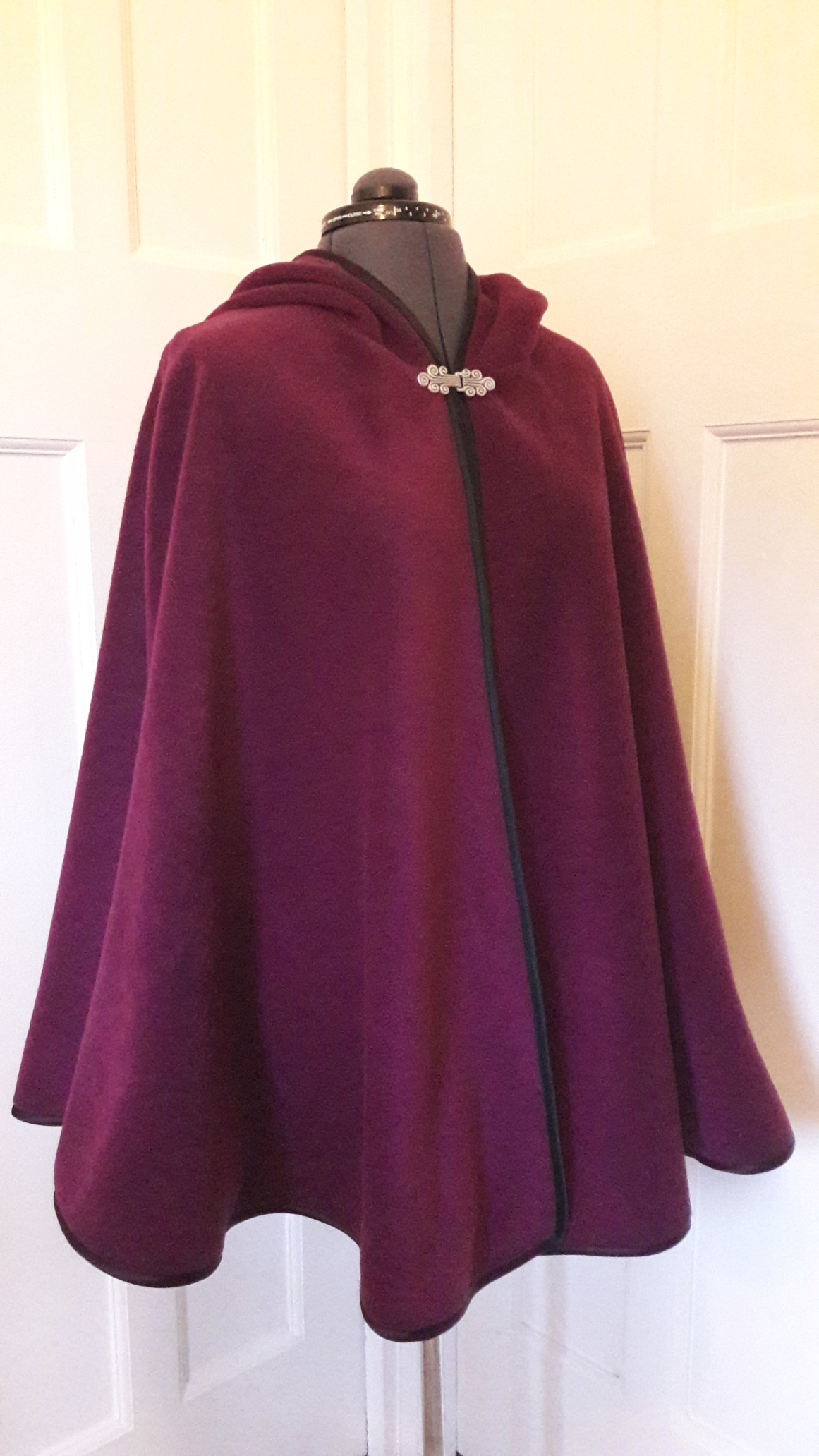 Cape edged with black satin binding - rounded hood - choice of colours - made to order