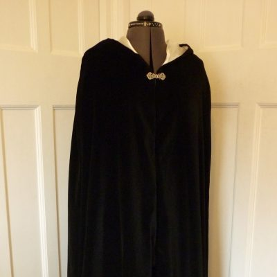 black cotton velvet cloak with ivory lining