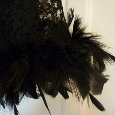 black lace cape with feather trim
