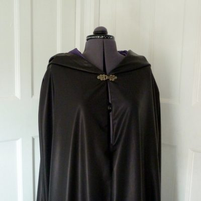 black pleather cloak with purple lining