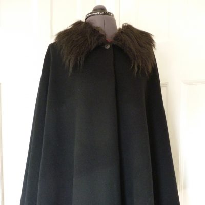 black melton cape with faux fur collar