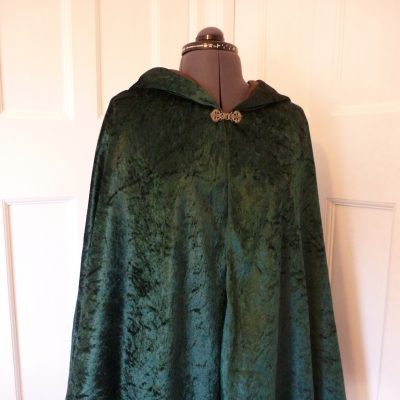 green velvet cape with brown lining