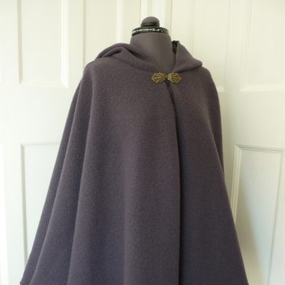 grey boiled wool cape with matching lining