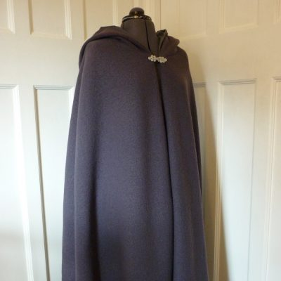 grey boiled wool cloak with matching lining