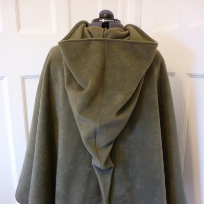 light-olive fleece cape with a pointed hood