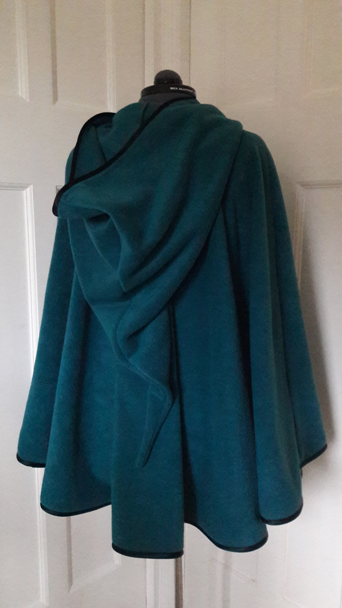 Cape edged with black satin binding - pointed hood - choice of colours - made to order