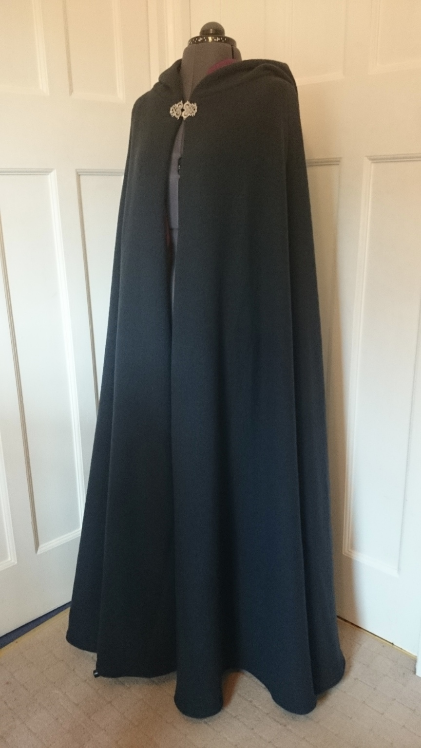 Semi-circular boiled wool cloak with contrasting lining - choice of colours - made to order