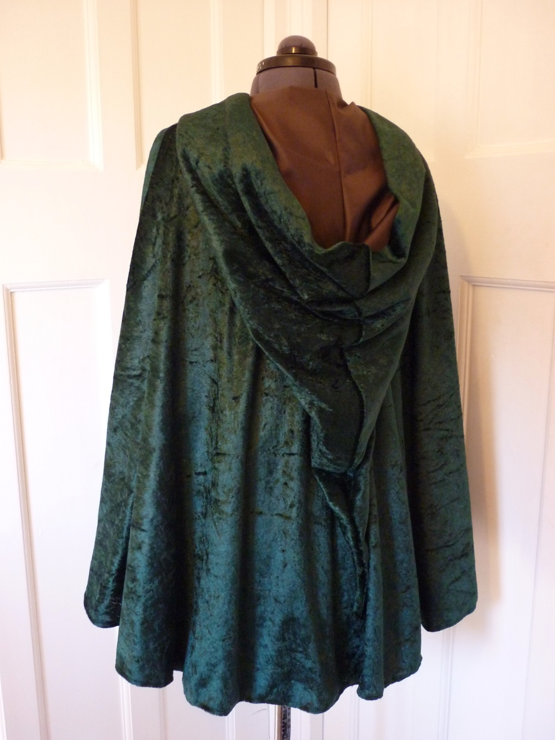 Crushed Velvet Cape with contrasting lining - pointed hood - choice of colours - made to order